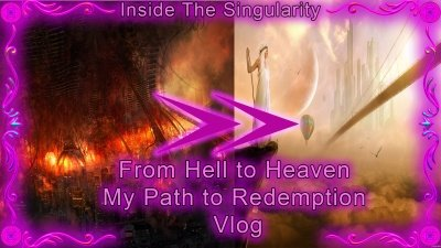 "A picture with text reading ""From hell to heaven my path to redemption vlog"""